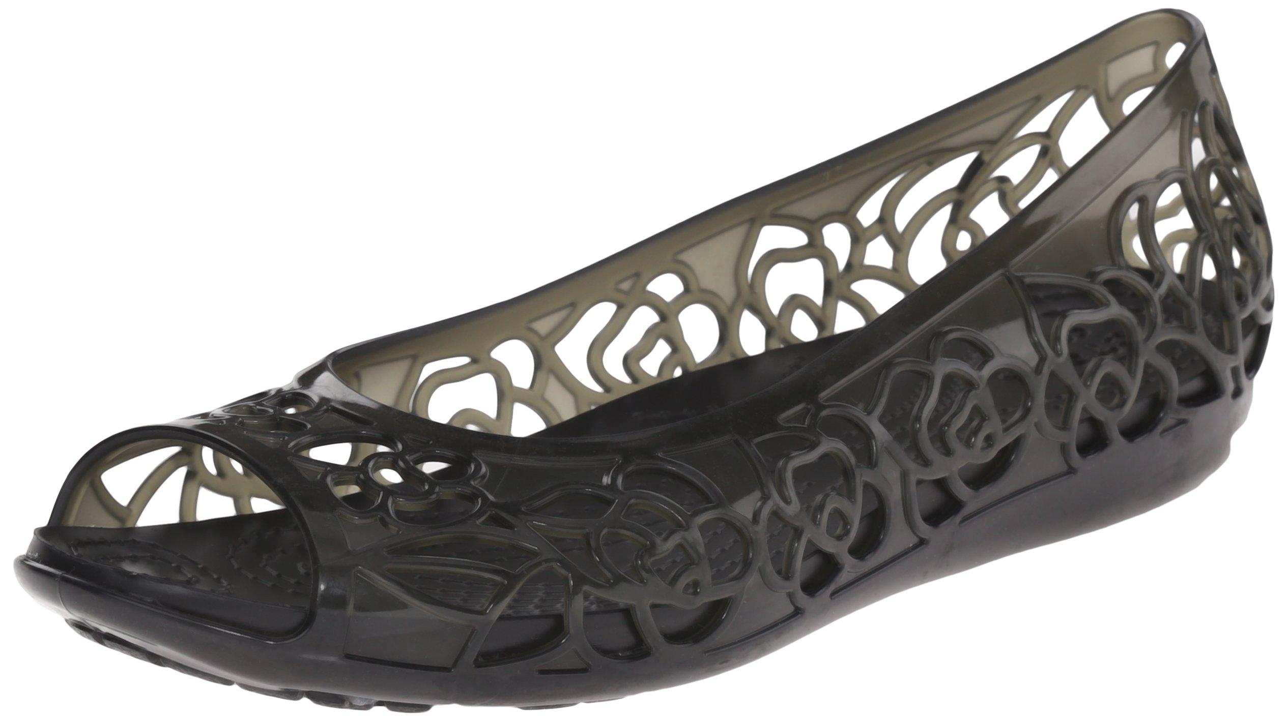 Crocs Women's Isabella Jelly Flat, Black, 8 M US