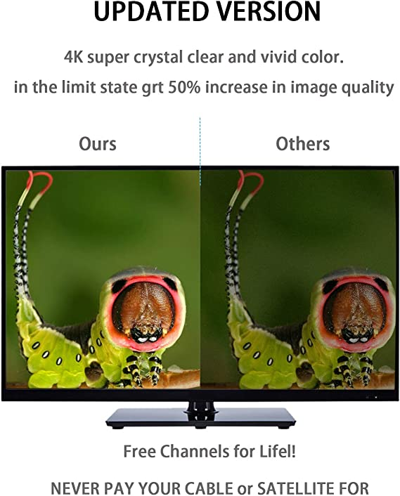 Antena de TV, Amplificador de Antena TV, Señal de Cobertura Dentro de 190km, Adaptador de Canal de Recepción sin Obstáculos con Cable 9.8f