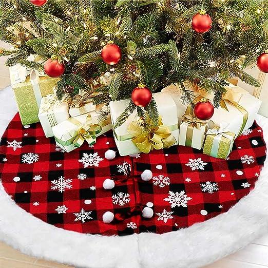 Red Plaid Tree Skirt Farmhouse Tree Skirt Quilted Christmas Tree Skirt Quilted Christmas Farmhouse Christmas Christmas Tree Skirt