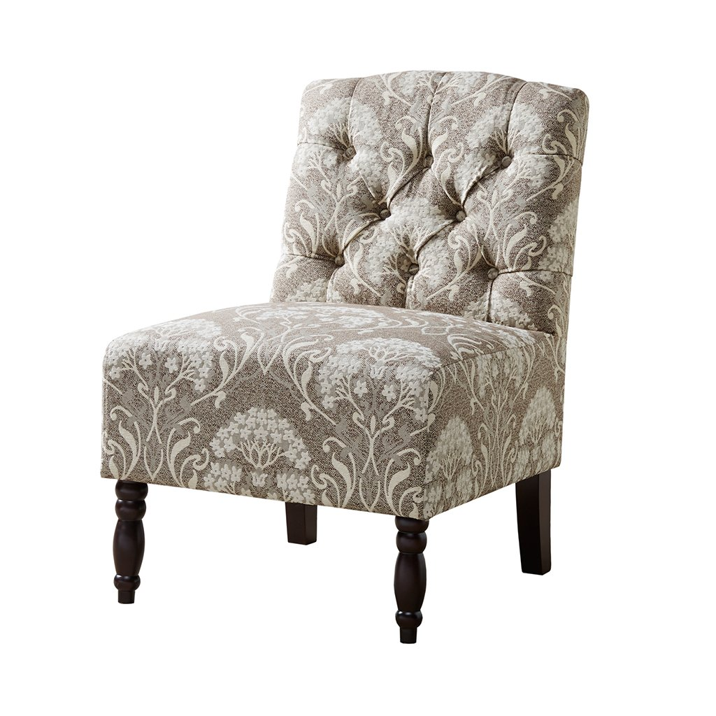 Madison park lola accent chairs hardwood birch wood fabric living room chairs taupe ivory damask pattern classic elegant style living room sofa