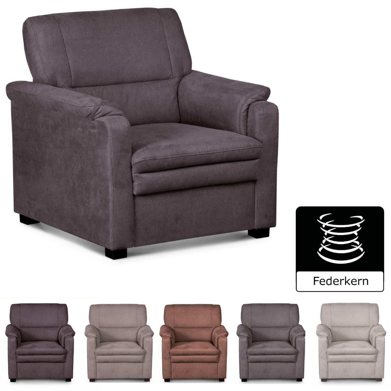 Cavadore Sessel Pisoo im klassischen Design / Gemütlicher Fernsehsessel fürs Wohnzimmer / Wohnzimmersessel / Größe: 86 x 89 x 90 cm (BxHxT) / Farbe: Anthrazit (dunkelgrau)