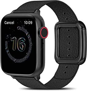 MARGE PLUS Compatible with Apple Watch Bands SE Series 6 5 4 40mm 44mm / Series 3 2 1 38mm 42mm for Men Women, Soft Leather Replacement with Magnetic Clasp for Apple Watch Band - Black/Black