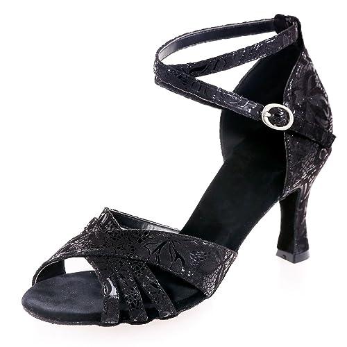 99dee16db Elobaby Women's Dance Shoes Black Character Salsa Latin Jazz Samba Evening  /7.5cm Heel: Amazon.co.uk: Shoes & Bags