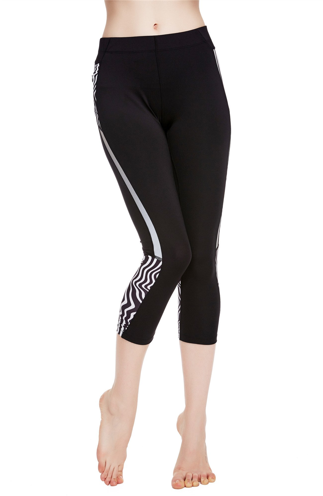 Icyzone Women S Workout Capri Leggings Fitted Stretch Tights With Zip Pocket Xl Zebra On Galleon Philippines