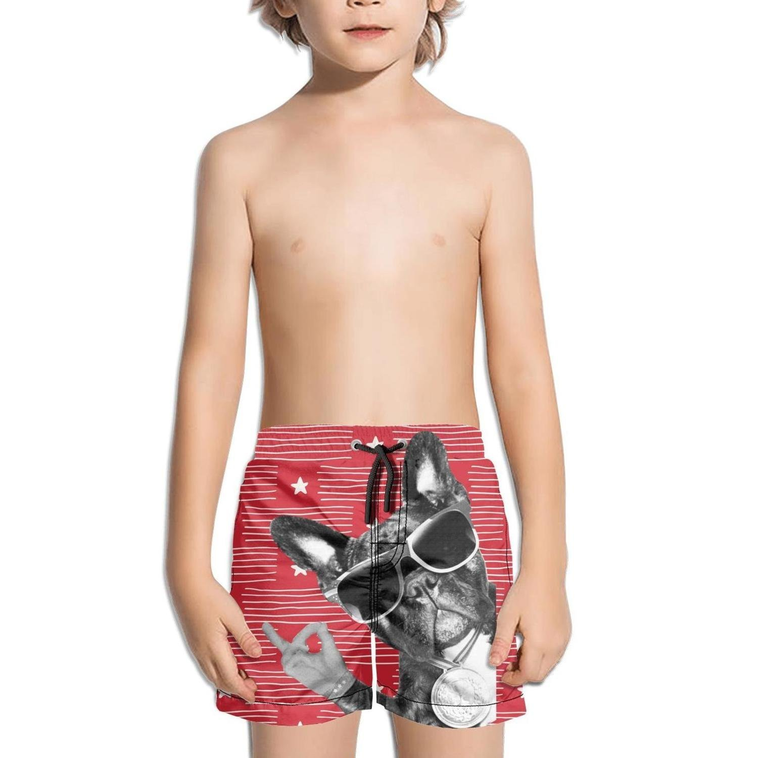 FullBo Cool Hip pop Glasses French Bulldog Little Boy's Short Swim Trunks Quick Dry Beach Shorts
