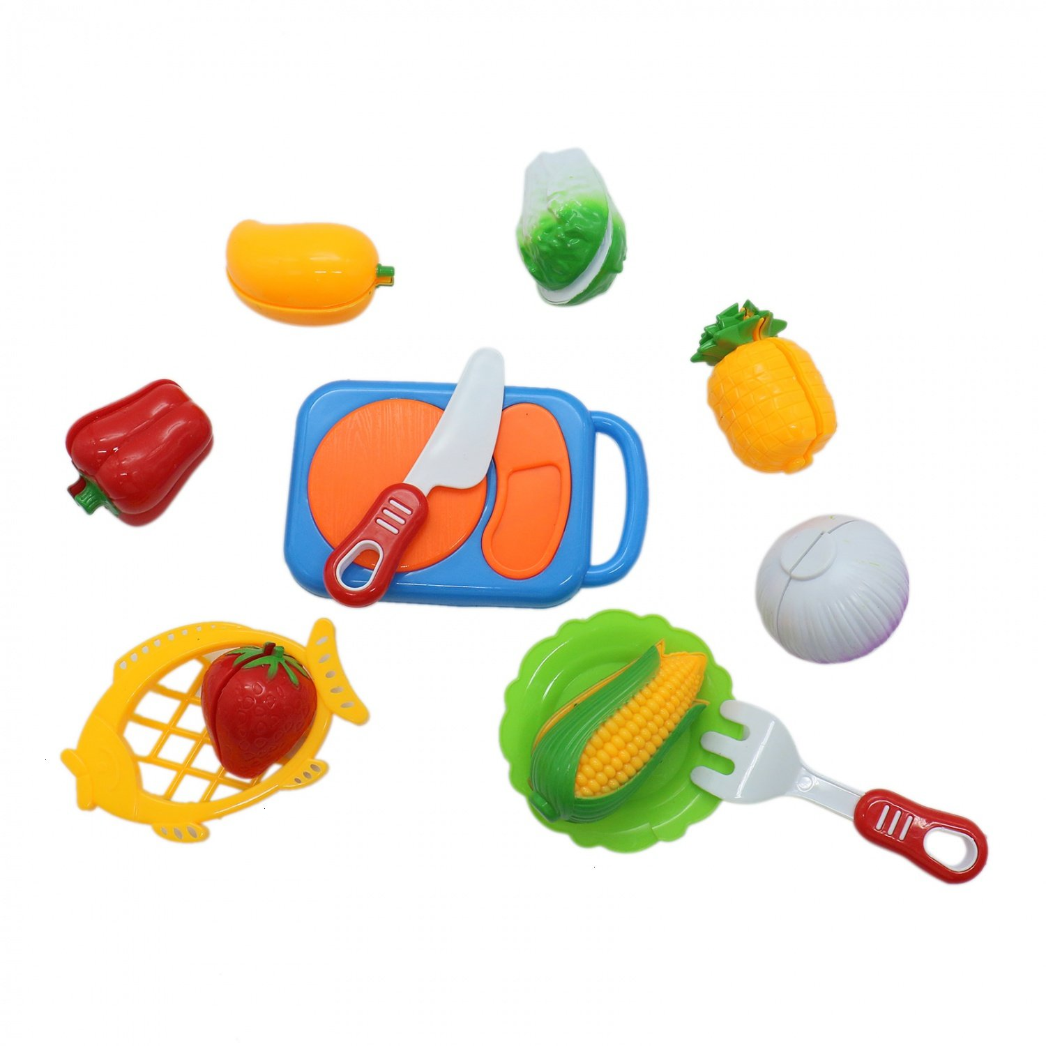 Buorsa Set of 12 Kitchen Fruit Vegetables Food Toy Cutting Set Kids Pretend Role Play Kids Gift Birthday Gift for Children, Assorted Color