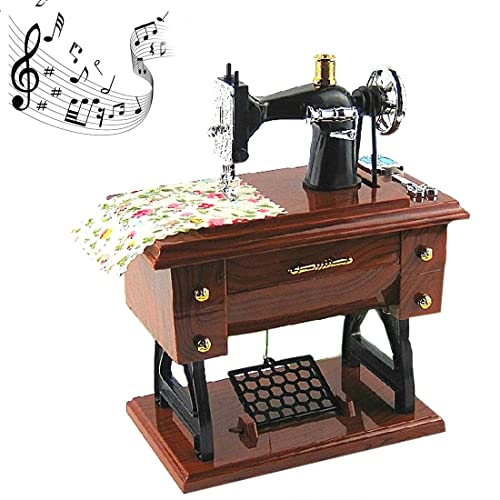 CocoTop Vintage Mini Sewing Machine Style Plastic Music Box Table Desk Car  Home Decoration Gift Toy