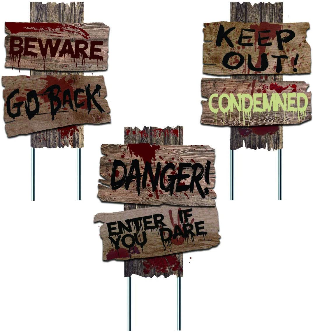 Liecho Pack of 3 Halloween Decorations Yard Signs Stakes Props Outdoor Decor Scary Zombie Vampire Graves Holiday Party Supplies,Double-Sided Printing (15x12 inches)