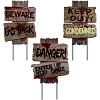 Liecho Pack of 3 Halloween Decorations Yard Signs Stakes Beware Props Outdoor Decor Scary Zombie Vampire Graves Holiday Party Supplies,Double-Sided Printing (15x12 inches)