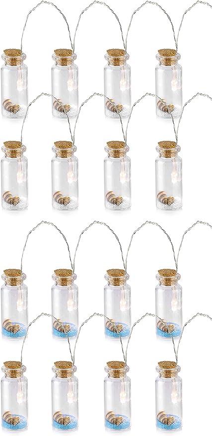 com-four® 2 Cadenas de Luces LED marítimas con Botellas ...