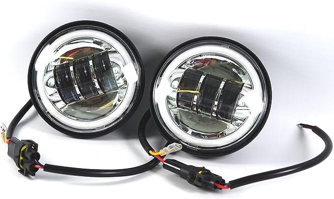Led Nebelscheinwerfer 4 5 Zoll Zusatzscheinwerfer Black Für Harley Davidson Modelle 2 Stück Auto