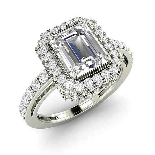 2Heart 2.48 ct esmeralda Corte Blanco Topacio & SIM. Diamante Anillo de compromiso 14 K