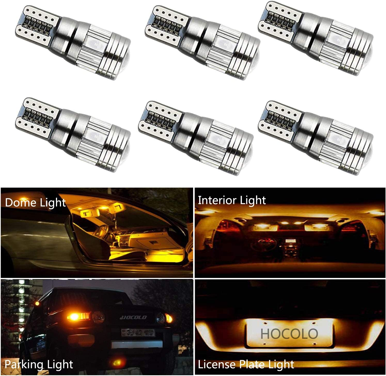 HOCOLO 6x T10 198 194 168 912 921 W5W 2825 Amber/Yellow Color Color High Power LED Bulbs For Interior Dome/Map/License Plate/Parking/Door/Trunk Lights (6pcs T10 6-SMD Canbus Error Free, Yellow/Amber)
