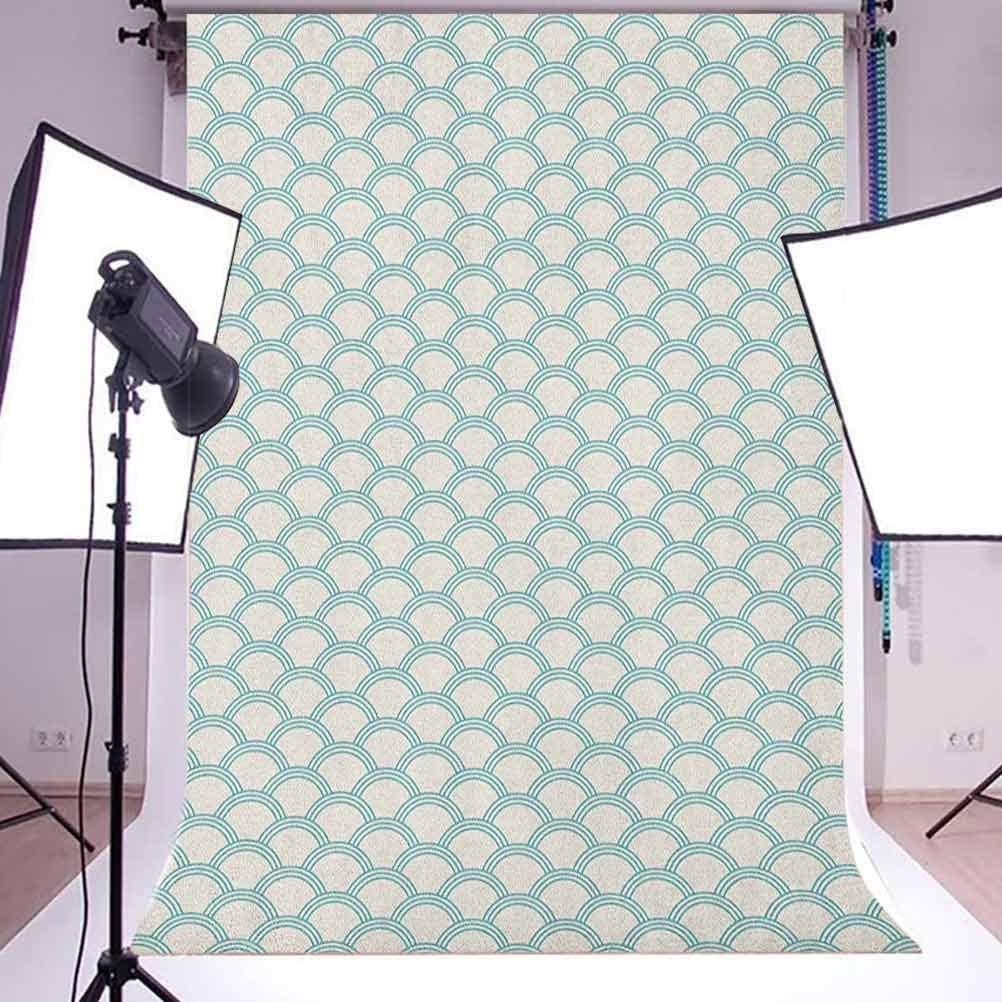 7x10 FT Grey Vinyl Photography Backdrop,Wavy Vertical Curved Stripes with Flowers and Leaves Vintage Damask Inspired Background for Baby Birthday Party Wedding Graduation Home Decoration