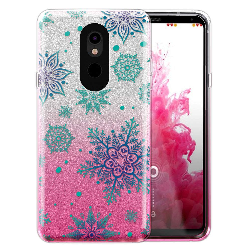 FINCIBO Case Compatible with LG Stylo 5, Shiny Sparkling Silver Pink Gradient 2 Tone Glitter TPU Protector Cover Case for LG Stylo 5 - Teal Winter Christmas Snowflake