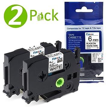 Ersatz kompatible Schriftband für Brother P Touch-2430-PC Schwarz auf Weiß 2 Off