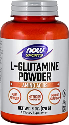 NOW Sports Nutrition, L-Glutamine Pure Powder, Nitrogen Transporter*, Amino Acid, 6-Ounce