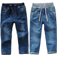 AFirst Pantalones de mezclilla para niños, con cordón elástico en la cintura ajustada, lavado de longitud completa…