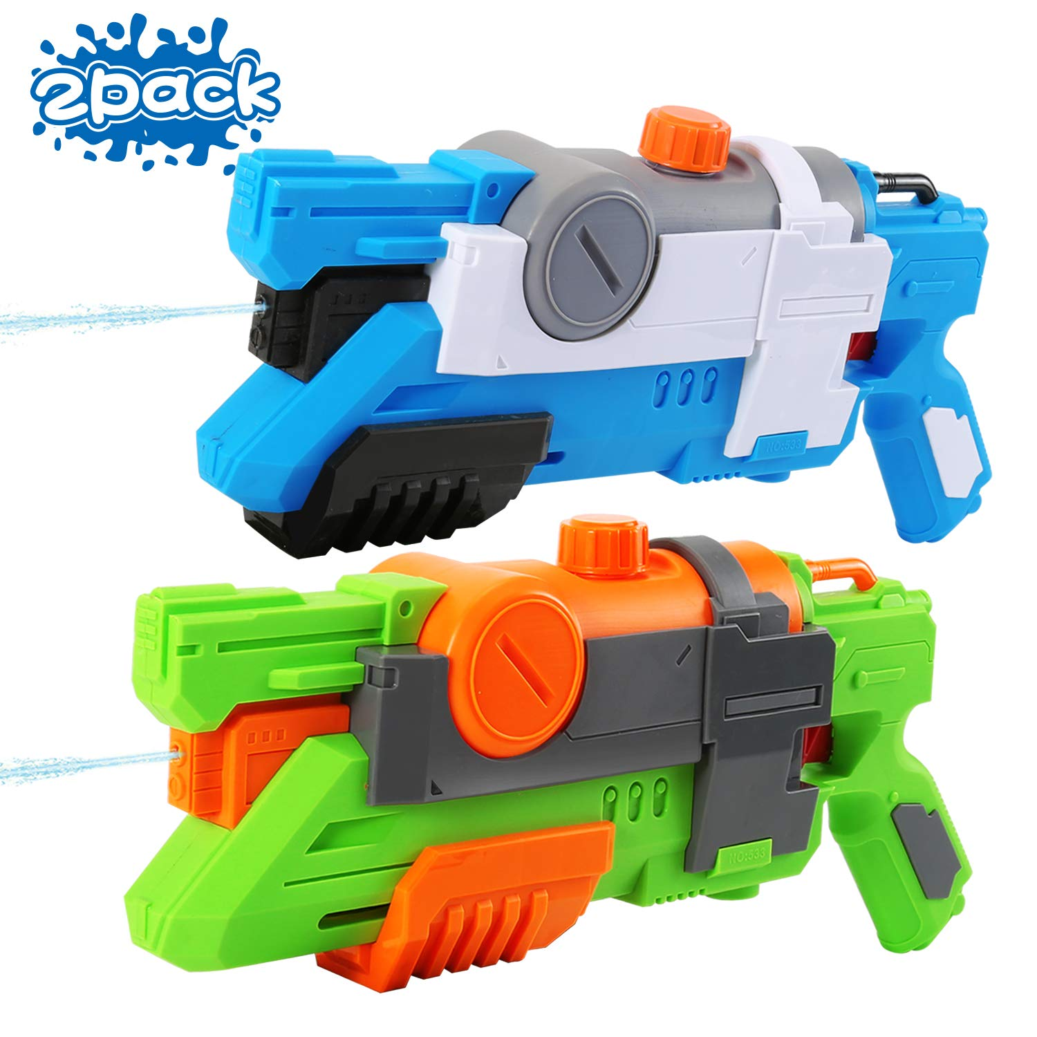 NOVCOLXYA Super Soaker Water Gun, 2 Pack Super Water Guns Water Blaster, 880cc/30oz High Capacity Water Soaker Blaster Squirt Guns for Kids Adults Swimming Pool Party Outdoor Beach Water Fighting
