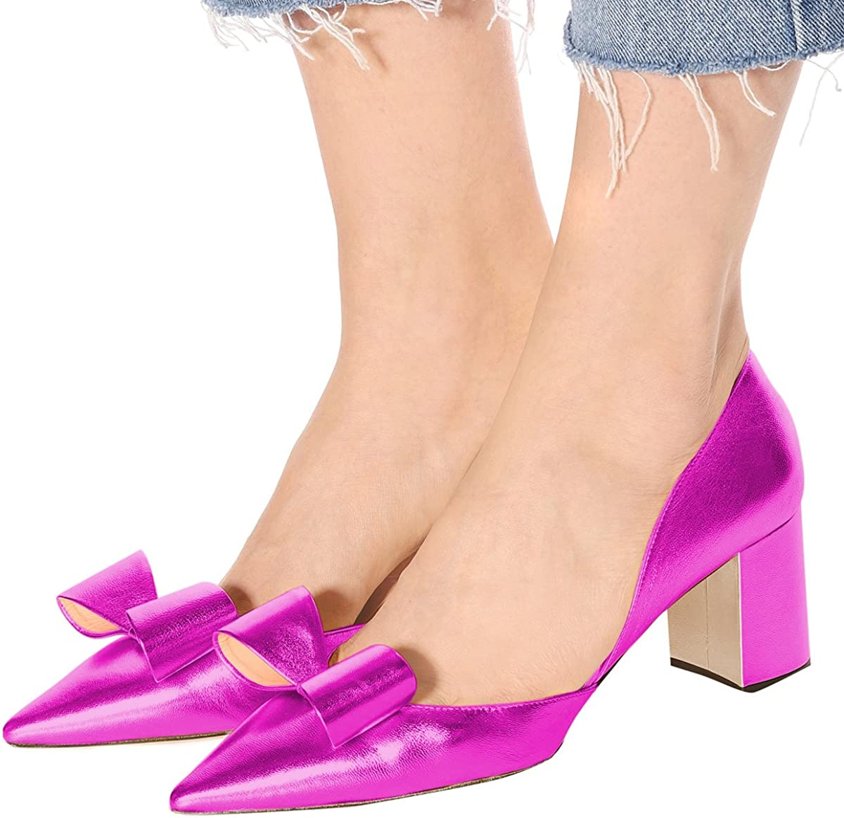 XYD Women Cute Bows Low Block Heel Pumps Pointed Toe DOrsay Slip On Office Lady Dress Shoes