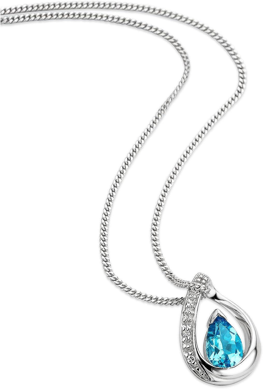 Orovia - Collar con colgante de topacio azul para mujer con cadena de oro blanco de 9 ct y 375 con diamantes de corte brillante topacio azul de 0,45 ct
