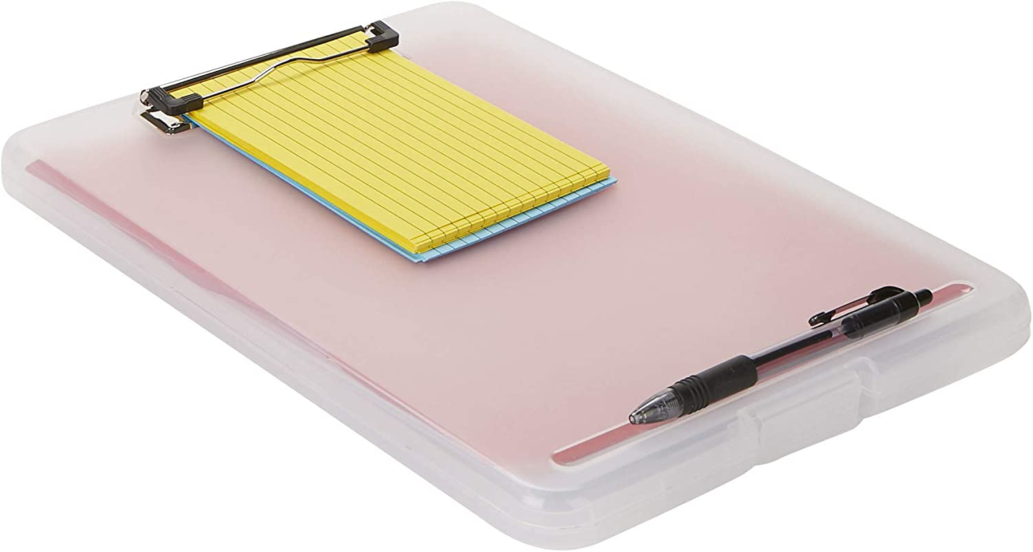 Mind Reader CLIP6-CLR Clipboard, Plastic Letter, Bottom Opening Storage, Low Profile Clip, School, Office, Pack of 6, Clear 6 Pack