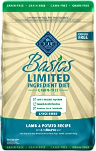 Blue Buffalo Basics Limited Ingredient Diet Grain Free Natural Adult Large Breed Dry Dog Food, Lamb & Potato 22-lb