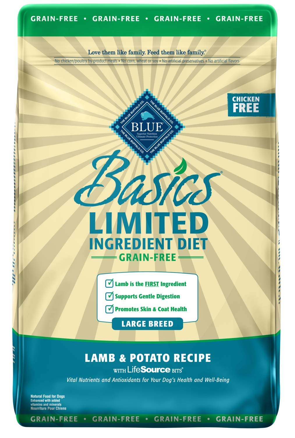 Blue Buffalo Basics Limited Ingredient Diet, Grain Free Natural Adult Large Breed Dry Dog Food, Lamb & Potato 22-lb by Blue Buffalo