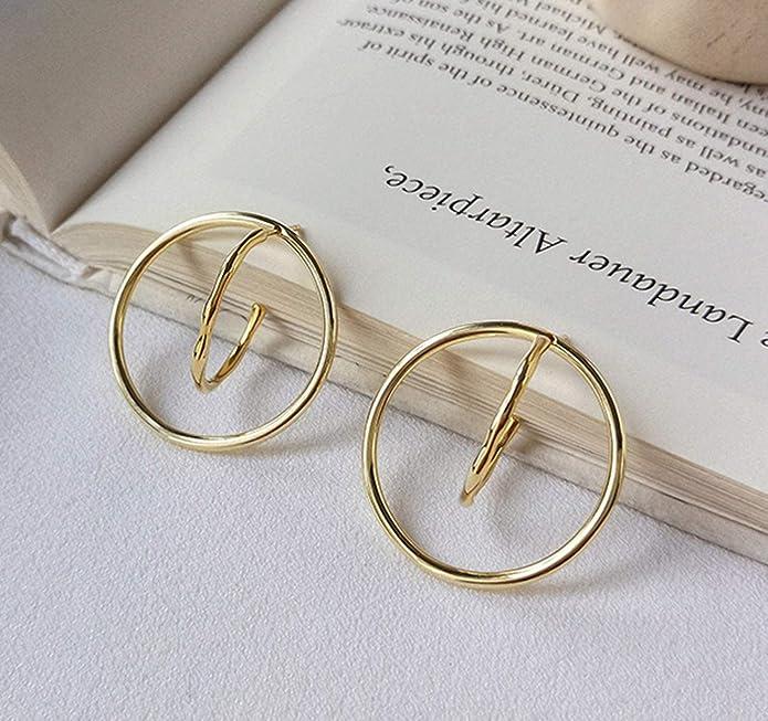 395e13b7d Amazon.com: Women S925 Sterling Silver Earring Circle Gold Earrings Stud  Dangle: Jewelry