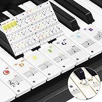 GOLRISEN Pegatinas Piano Niños 37/49/61/88 teclas Pegatinas para Teclado o Piano Transparentes Pegatinas Notas Piano para marcar las Notas, Ideal para Principiantes y Niños