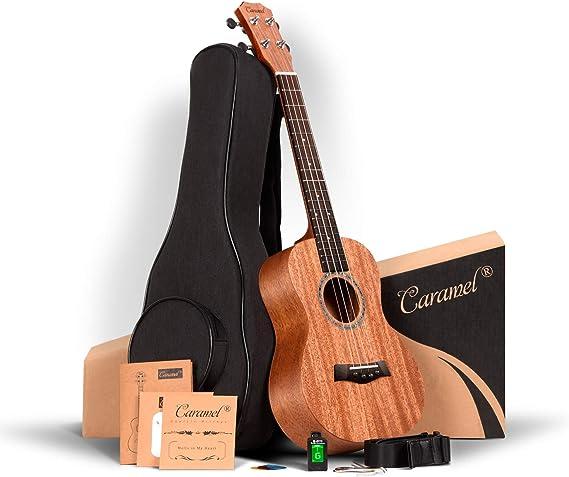 ALL SOLID MAHOGANY WOOD ! Tenor Ukulele Caramel 26 inch Professional ukulele Instrument Kit Small Hawaiian Guitar ukalalee Pack Bundle Gig bag