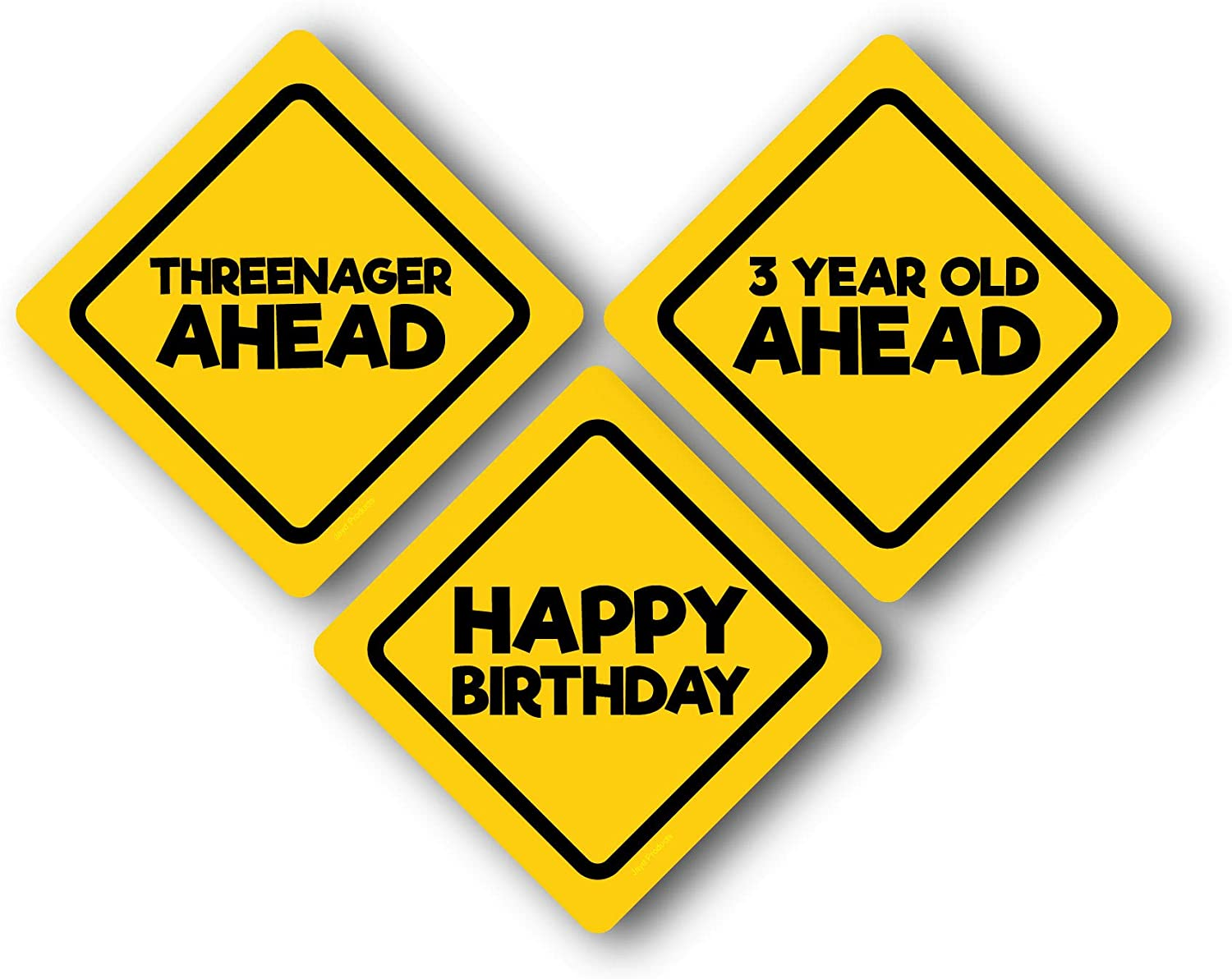 Jayd Products, 3 Year Old Birthday Caution Signs, (3ct) 16.5