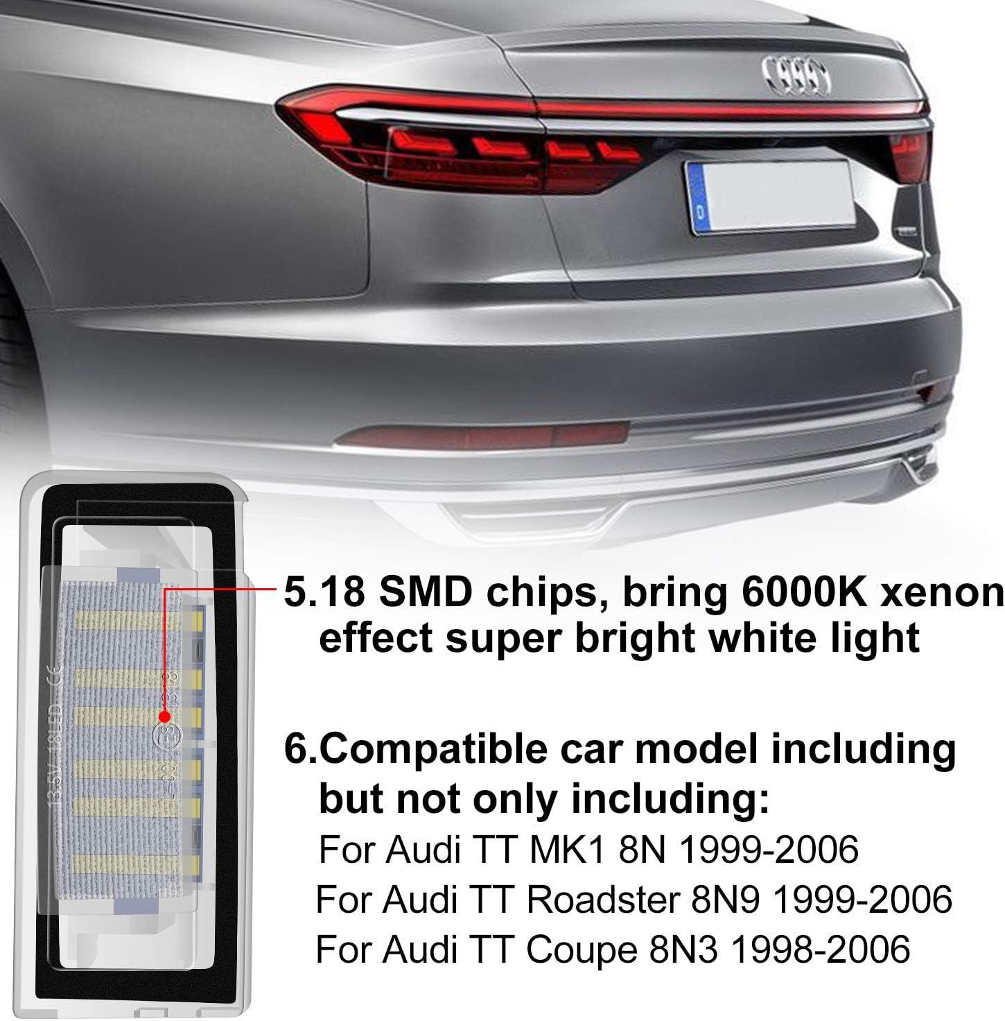 WinPower LED /Éclairage plaque immatriculation pour TT 8N Roadster Coupe 1999-2006 18SMD Pas derreur 2 pi/èces