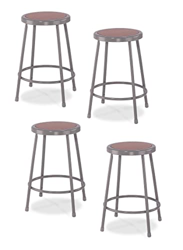 4 Pack National Public Seating 24 Heavy Duty Steel Stool, Grey