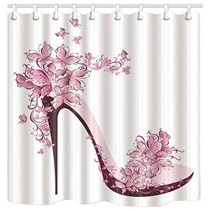 Image Unavailable Not Available For Color KOTOM Girly Decor Shower Curtain Pink Butterfly And High Heels Shoe