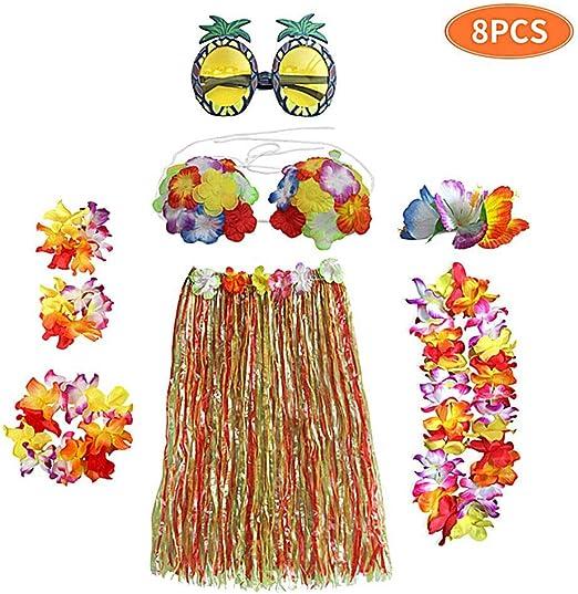 FOONEE Falda elástica de Hula de Hierba Hawaiana 8 Piezas, Falda ...