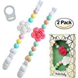 Silicone Pacifier Clip and Teether Holder for Teething Baby Girl | Set of 2 Shabby Chic Mint/Peach/Pink/Yellow/Light Blue Designs | Soft Chewable Beads and Roses