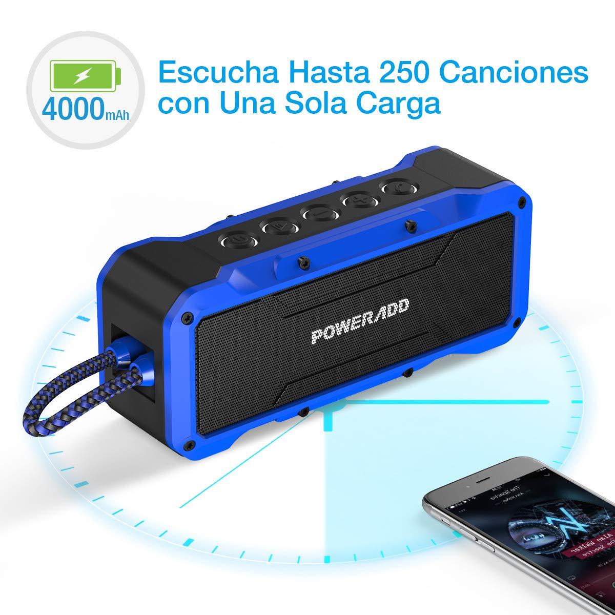 POWERADD Altavoz Sonido Potente de 36W, Altavoz Bluetooth Portátil de Impermeable IPX7,Antigolpes,Resisdente a Arena, con Aux Cable,Color Negro-Azul.