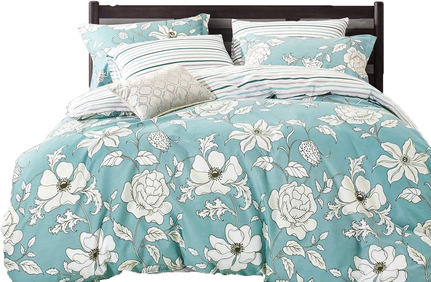 Swanson Beddings Blue Floral 3-Piece 100% Cotton Bedding Set: Duvet Cover and Two Pillow Shams (Queen)