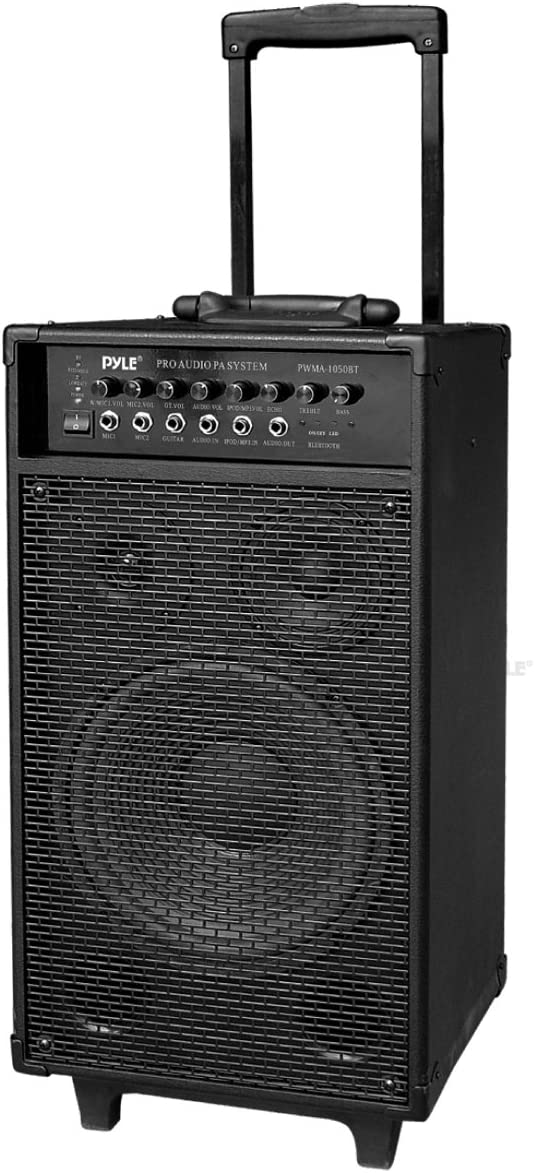Pyle Outdoor Portable Wireless Bluetooth PA Loud speaker Stereo Sound System with 10 inch Subwoofer, Mid-Range Tweeter, Rechargeable Battery, Microphone, Remote - PWMA1050BT