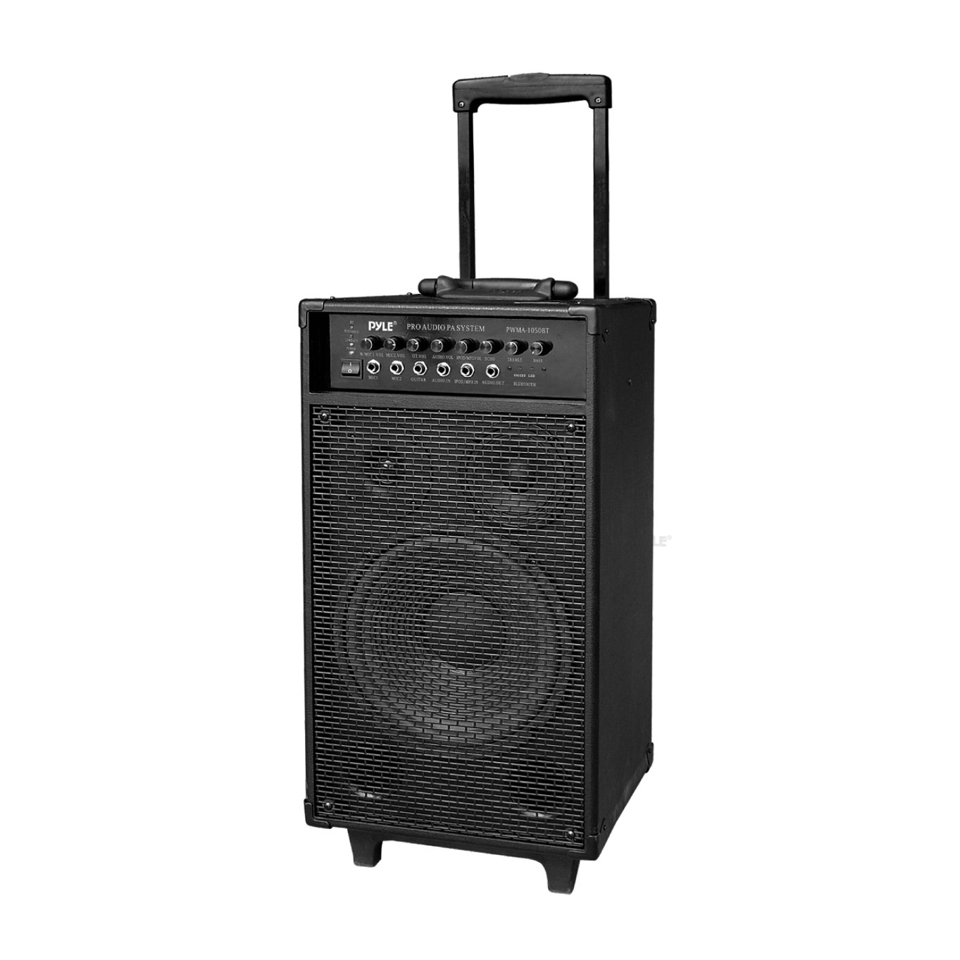 Pyle Outdoor Portable Wireless Bluetooth PA Loud speaker Stereo Sound System with 10 inch Subwoofer, Mid-Range Tweeter, Rechargeable Battery, FM Radio, USB / SD Reader, Microphone, Remote - PWMA1050BT
