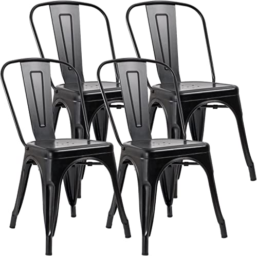 JUMMICO Metal Dining Chair Stackable Indoor-Outdoor Industrial Vintage Chairs Bistro Kitchen Cafe Side Chairs with Back Set of 4 Black