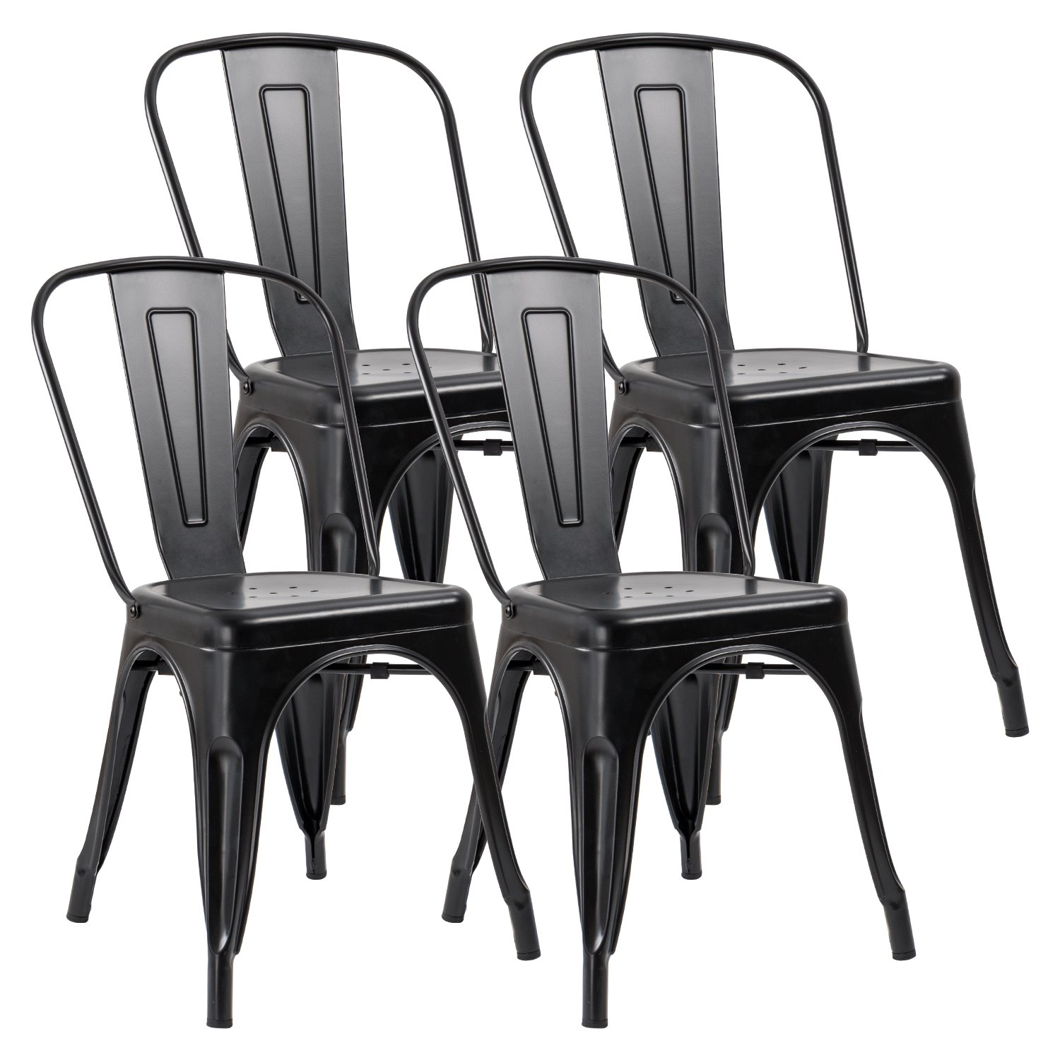 JUMMICO Metal Dining Chair Stackable Indoor-Outdoor Industrial Vintage Chairs Bistro Kitchen Cafe Side Chairs with Back Set of 4 (Black) by JUMMICO