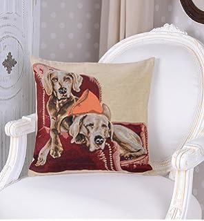 Kissenhülle Hunde Motiv Kissen Gobelin Kissenbezug Vintage Dekokissen Zierkissen