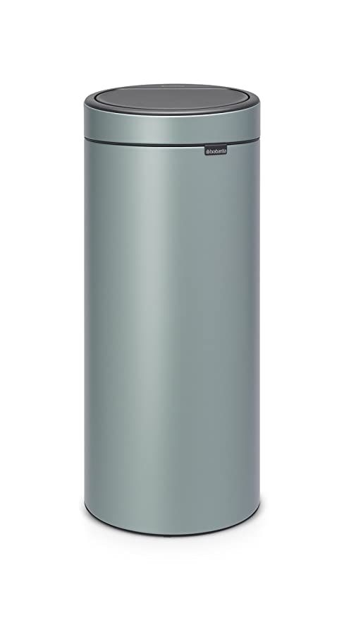 Brabantia Touch Bin Cubo de Basura, 30 litros, Acero Inoxidable, Menta Metalizado, 32 x 29.5 x 72 cm