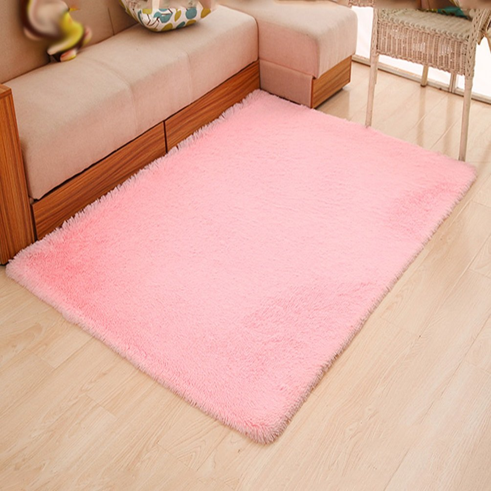 Rug WAN SAN QIAN- Children Bedroom Carpet Living Room Carpet Sofa Europe Princess Rectangle Thicker (Color : Pink, Size : 120x160cm)