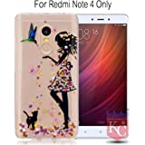 KC Soft TPU Silicone Flower Printed Standing Girl Transparent Case with Diamonds Studs Back Cover for Redmi Note 4