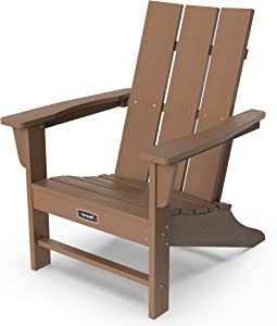SERWALL Adirondack Chair Modern Back Contemporary Patio Chairs Lawn Chair Outdoor Chairs Painted Weather Resistant- Brown