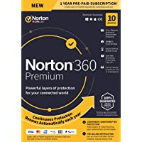 NEW Norton 360 Premium – Antivirus software for 10 Devices with Auto Renewal - Includes VPN, PC Cloud Backup & Dark Web Monitoring powered by LifeLock [PC/Mac/Mobile Key Card]