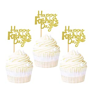 Ercadio 24 Pack Gold Happy Father's Day Cupcake Toppers with Moustache Glitter Happy Father's Day Cake Picks Decorations for Best Super Dad Theme Party